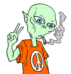 Alien smoking vector