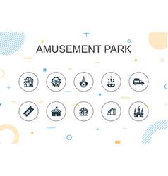amusement park trendy infographic template thin vector image
