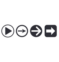 arrows simple square and round icons vector image