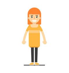 Beautiful happy smiling teen girl in orange dress vector