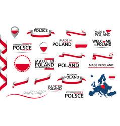 Big set polish ribbons symbols made in poland vector
