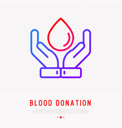 Blood donation concept hands holding blood drop vector