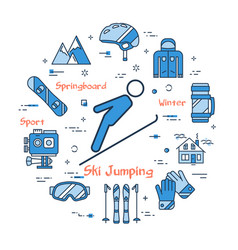blue concept of ski jumping vector image