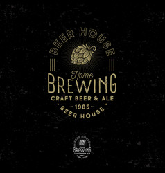brewing logo pub emblem hop cone craft beer vector image