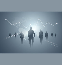 business people group silhouette team over finance vector image