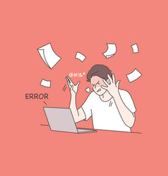 Business work mental stress frustration anger vector