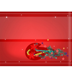 Candy Canes with Red Bow on Red Background vector