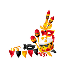 carnival party corner with celebration icons vector image