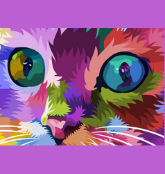 cat face close to colorful eyes vector image
