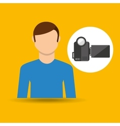 character man movie concept video camera vector image vector image