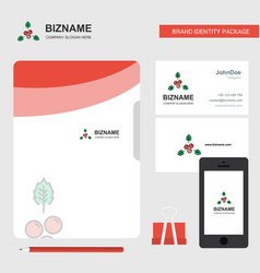 Cherries business logo file cover visiting card vector