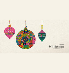 christmas and new year retro folk art ornament vector image