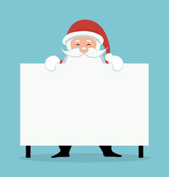 christmas card of santa claus behind white sign or vector image