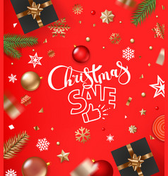 christmas sale concept banner with baubles and vector image