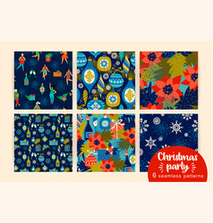 Christmas seamless patterns with dancing women and vector