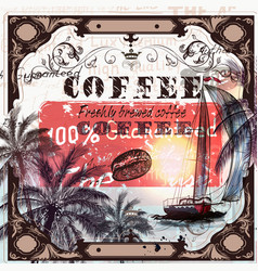 coffee poster in vintage style vector image