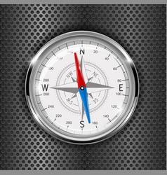 compass metal gauge on iron perforated background vector image