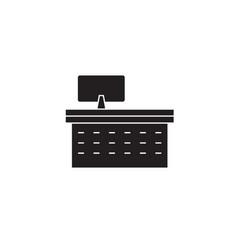 computer desk black concept icon computer vector image