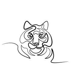 Continuous one line drawing tiger symbol logo vector