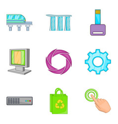 Cordless portable icons set cartoon style vector