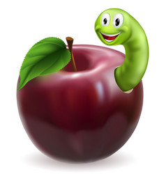cute caterpillar apple vector image