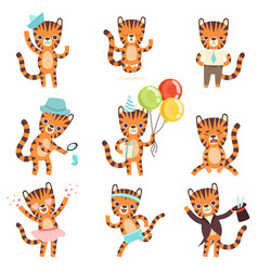 cute little tiger in different situations set vector image