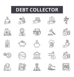 Debt collector line icons signs set vector