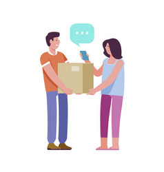 Delivery service courier passes box with parcel vector
