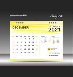 Desk calender 2021 december template vector