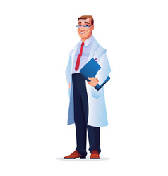 doctor physician practitioner man in white gown vector image