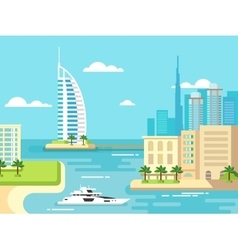 Dubai City Beach Skyline vector image