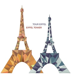 Eiffel towers in low poly style vector
