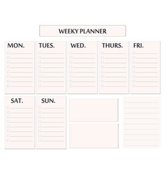 Elegant weekly planner template isolated vector