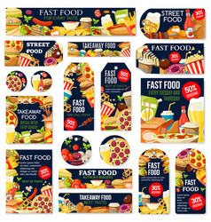 fast food junk meal and drink labels and tags vector image