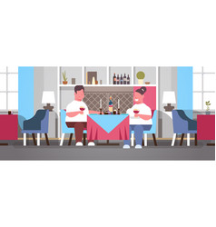 Fat overweight couple drinking wine sitting cafe vector