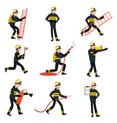 firefighter wearing black protective uniform and vector image