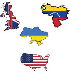 flag in map of UKUkraineUnited StatesVenezuela vector image