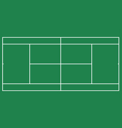 flat green big tennis field top view of tennis co vector image