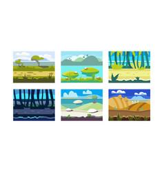 flat set of seamless horizontal backgrounds vector image