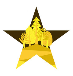 flat yellow in the form of a star vector image