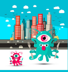 funky alien cartoon aliens with city on vector image