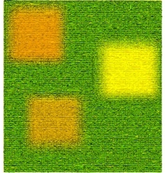 Green textured background with yellow squares vector image