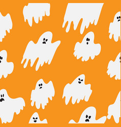 halloween wrapping paper design with flying ghosts vector image