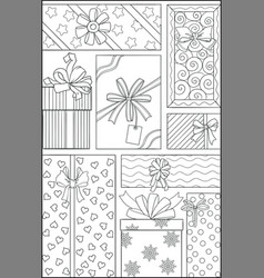 holiday theme black and white graphic doodle hand vector image