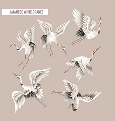 Japanese white crane in batik style vector