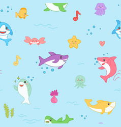 kawaii shark seamless pattern cute funny fish vector image