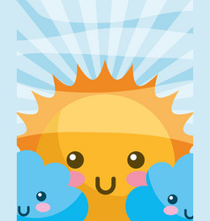 Kawaii sun clouds happy cartoon vector