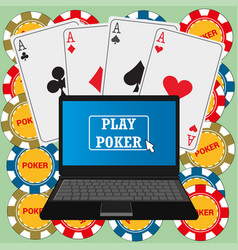 Laptop with the poker application on the screen vector