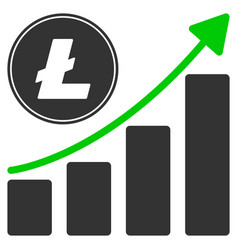 litecoin growing chart trend flat icon vector image