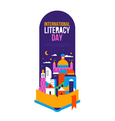 literacy day poster template open book story city vector image